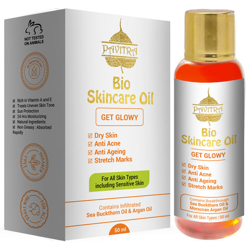 Pavitra+ Bio Skincare Oil For Pregnancy Stretch Marks With Argan Oil Saffron And Vitamin E 50ml