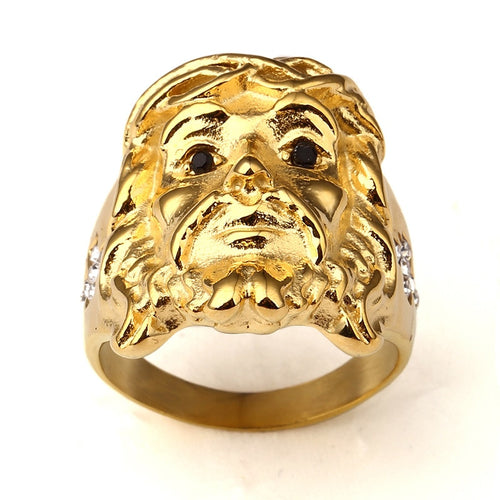 Classic 24K Gold Plated Vintage Male Jewelry Jesus Head Ring