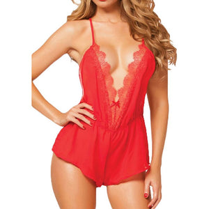 OPEN BACK LACE LINGERIE ROMPER
