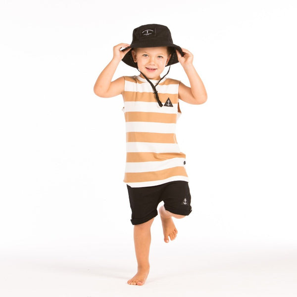 hello stranger kidswear Muscle Tee Brown Stripe