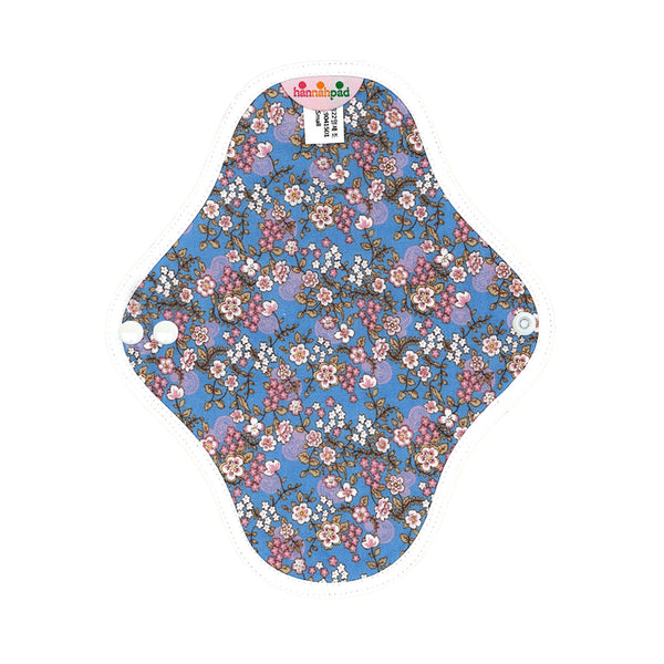 hannahpad Certified Organic Cloth Pad | Pantyliner 2pk | Cherry Blossom Blue