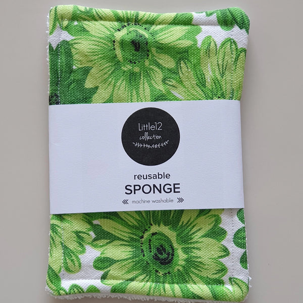 Reusable Clothes Sponge - Green Floral