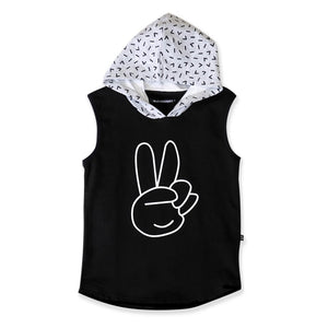 Peace Hands Sleeveless Hood from Hello Stranger