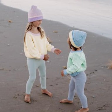 Le Edit Sea Sky Contrast Knit Jumper with Blue Beanie and Grey Leggings - Kids Models