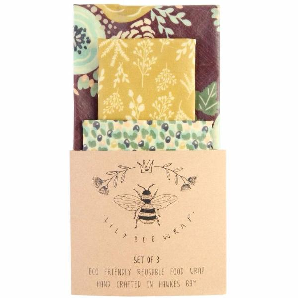 LilyBee Reusable Food Wrap Set of 3 - Wild Flower