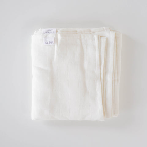 Le Edit Organic Cotton Baby Swaddle Wrap Blanc