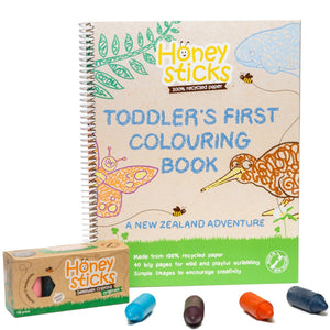 Honeysticks Original Crayons & Toddlers First Colouring Book (A Kiwi Adventure) Set.