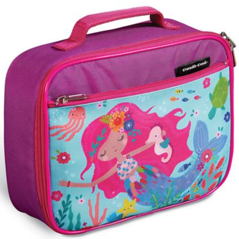 Croc Creek Classic Lunchbox Mermaid  Make school lunches more fun with a Crocodile Creek Race Car Lunchbox.  This high-quality lunch box is sturdy and durable with extra lining to keep food fresh and padding and structure to prevent crushing.  There is plenty of storage space to fit a variety of back to school accessories and a sturdy nylon handle for easy portability.  Easy to use zippers for little hands to open and close.  Simply wipe the lunch box with a damp cloth after each use for easy cleaning.