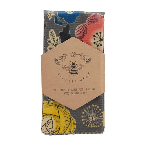 LilyBee Reusable Beeswax Wrap Single XL - Furano Flowers (Thick Canvas)