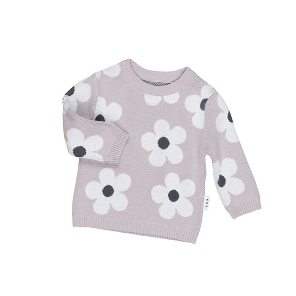 Huxbaby Organic Cotton Floral Knit Jumper - Front