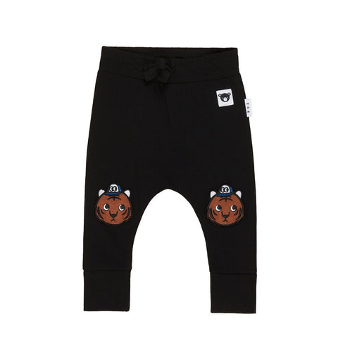 Organic Cotton Tiger Knee Drop Crotch Pant Black from Huxbaby