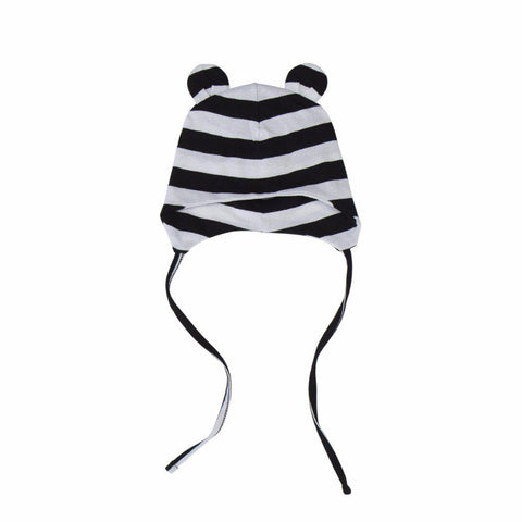 Organic Cotton Bear Pilot Hat Stripe - Size M/24M+