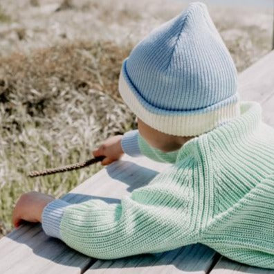 Le Edit Sea Sky Contrast Knit Jumper with Blue Beanie - Beach