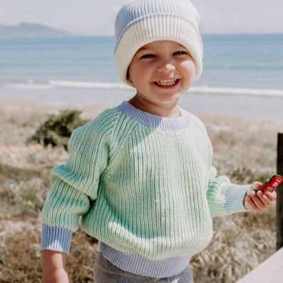 Le Edit Sea Sky Contrast Knit Jumper with Blue Beanie - Smile