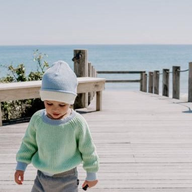 Le Edit Sea Sky Contrast Knit Jumper with Blue Beanie