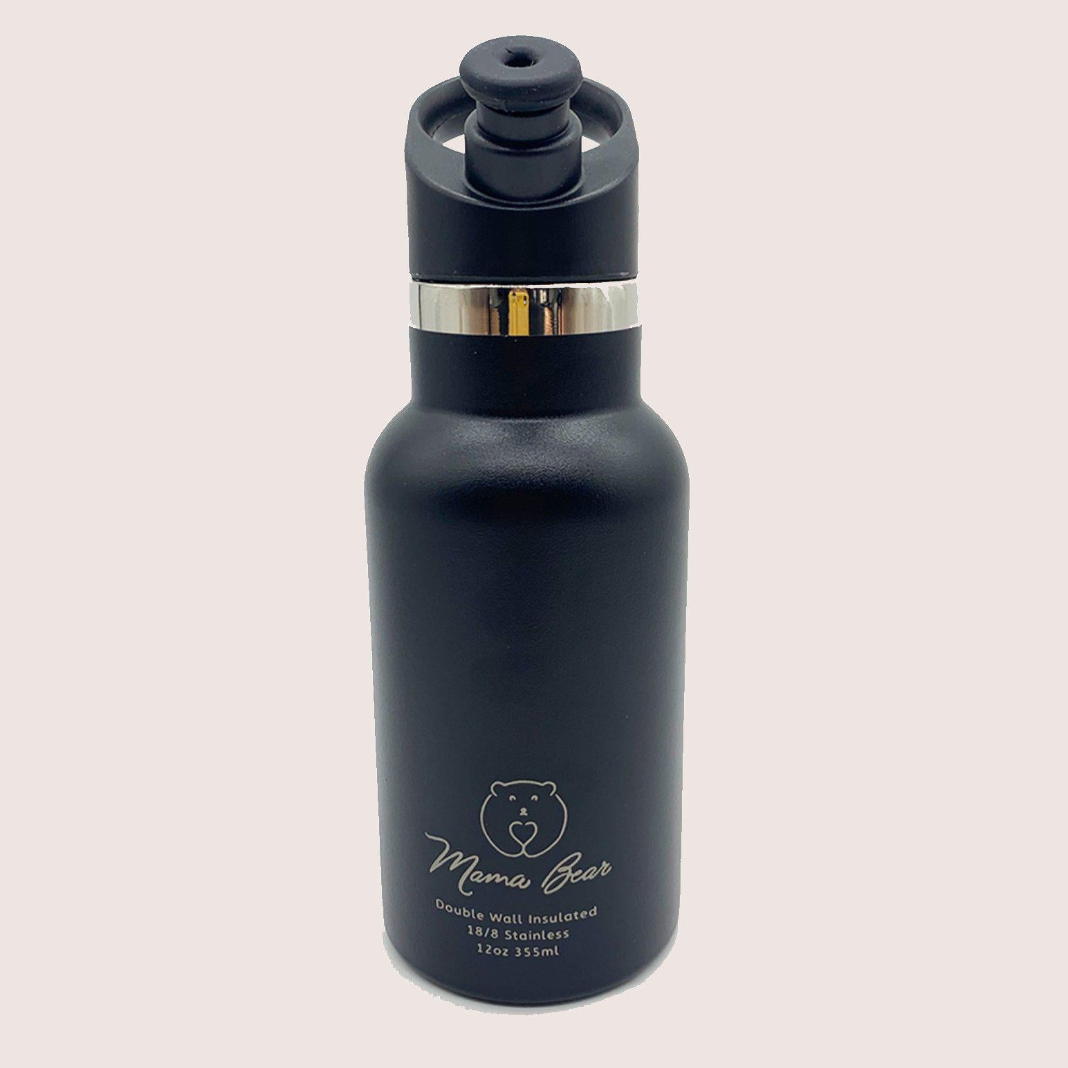 Mama Bear Stainless Steel Double Wall Insulated Bottle 12oz/355ml Jet Black