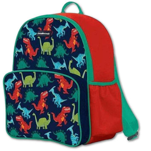 Crocodile Creek Backpack Dinosaurs. A beautiful, high-quality, sturdy backpack that is a great fit for younger children 3-8 years old. Bold colours and designs. Great for school, camp, or travel. Crocodile Creek products conform to all of the appropriate safety standards. This backpack has dual zippers with heavy-duty pull strings, padded adjustable straps, and generous carrying capacity for books, notebooks, and other essentials. A reinforced, durable side pocket is perfect for drinking bottle storage.