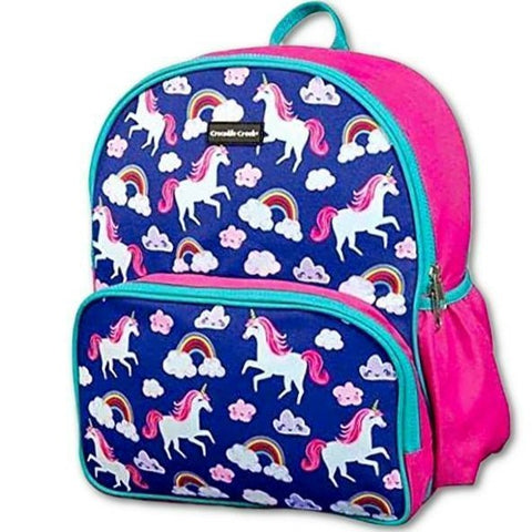 Crocodile Creek Backpack Unicorns. A beautiful, high-quality, sturdy backpacks that is a great fit for younger children 3-8 years old. Bold colours and designs. Great for school, camp, or travel. Crocodile Creek products conform to all of the appropriate safety standards. This backpack has dual zippers with heavy-duty pull strings, padded adjustable straps, and generous carrying capacity for books, notebooks, and other essentials. A reinforced, durable side pocket is perfect for drinking bottle storage.