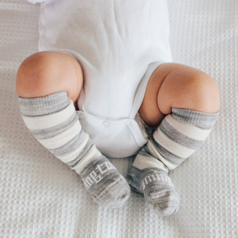 Merino Wool Knee High Baby Socks Pebble