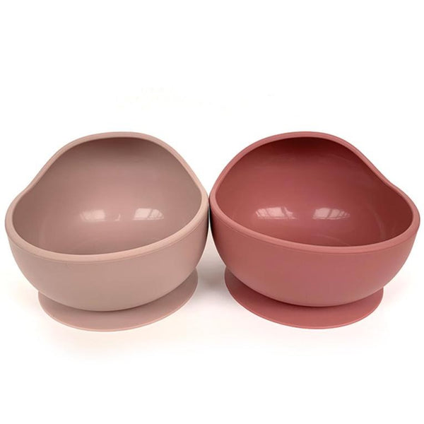 Silicone Suction Bowl & Spoon Set - Berry, Rosy