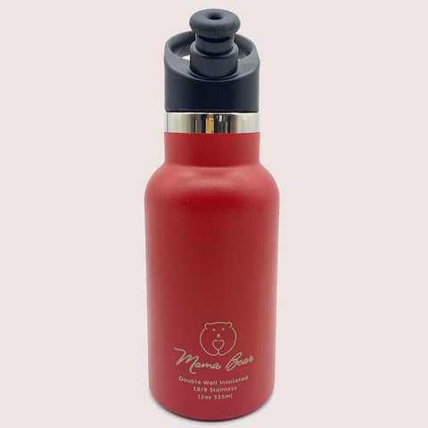Mama Bear Stainless Steel Double Wall Insulated Bottle 12oz/355ml Scarlet Red