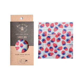 LilyBee Small Snack Bag - Strawberries (Organic Cotton)