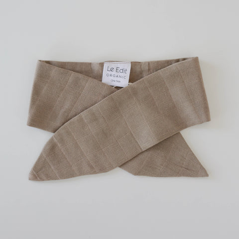 Le Edit Organic Cotton Classic Headband Stone