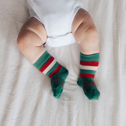 Merino Crew Socks Xmas Limited Edition Elf Baby Leg 1
