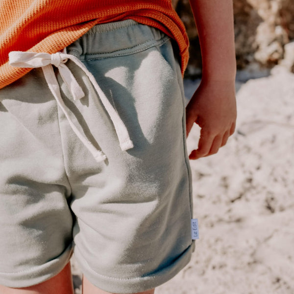 Seafoam French Terry Shorts Model 3