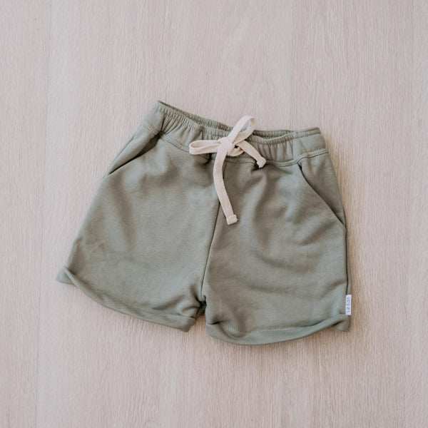 Seafoam French Terry Shorts Flat