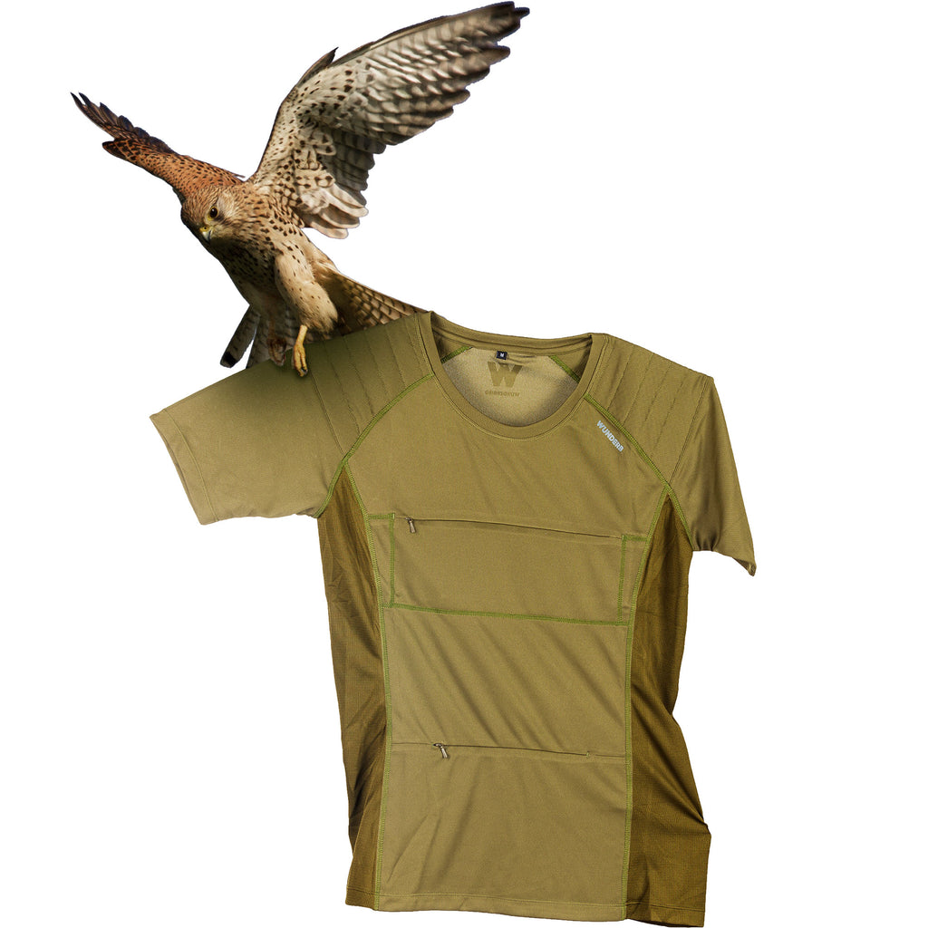The Kestrel Short Sleeve birdwatching t-shirt in olive green