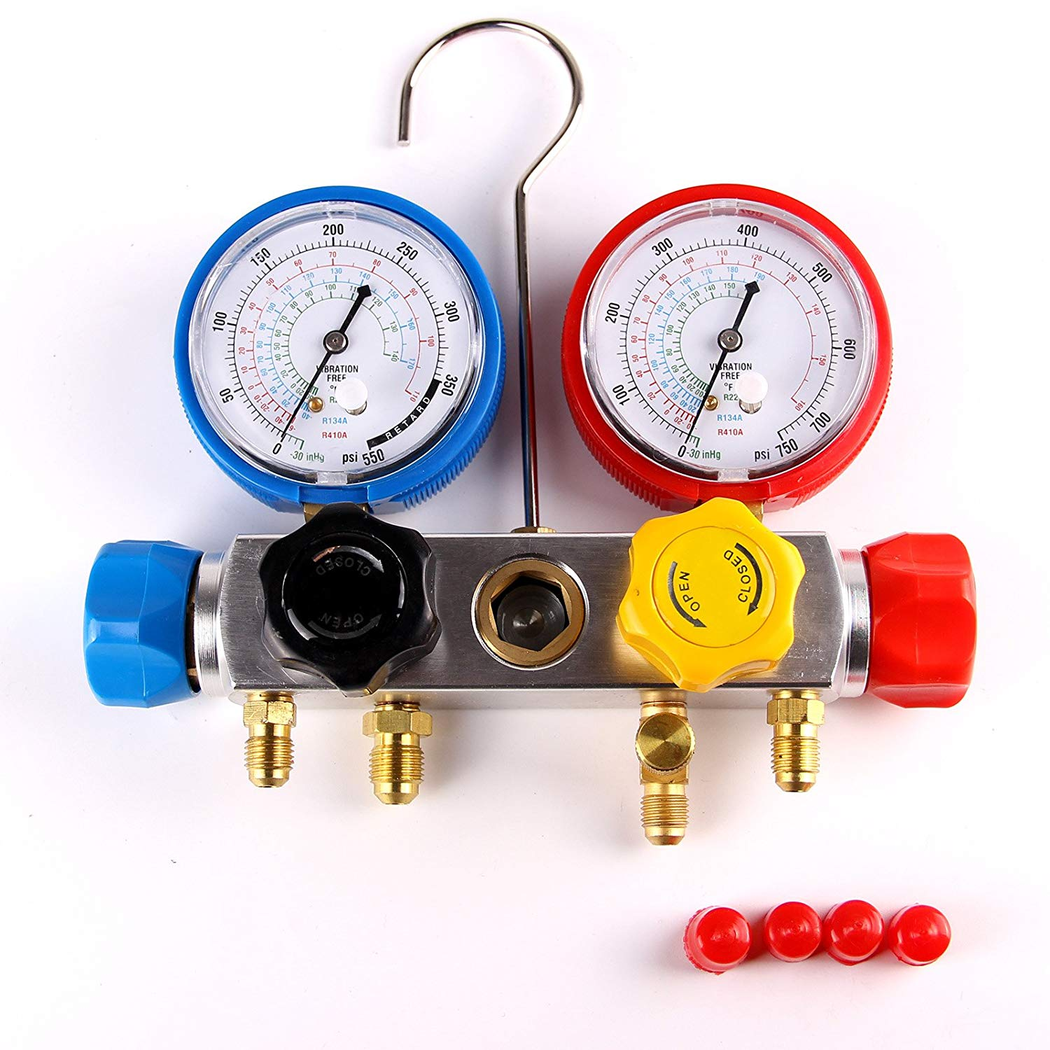 AC Manifold Gauge Set 4 Way R410a R22 R134a with Hoses Coupler Adapters by  BlueStars