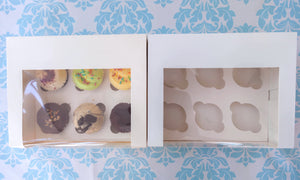 "Cupcake Box White 6 Holes *4"" Height* (25 pcs)"