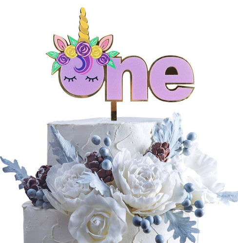 Unicorn ONE birthday acrylic cake topper