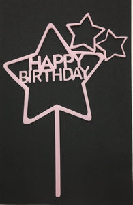 Pink Acrylic Cake Topper  - Happy Birthday (Stars)