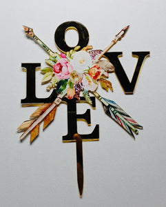 LOVE  Bouquet  Acrylic Cake Topper