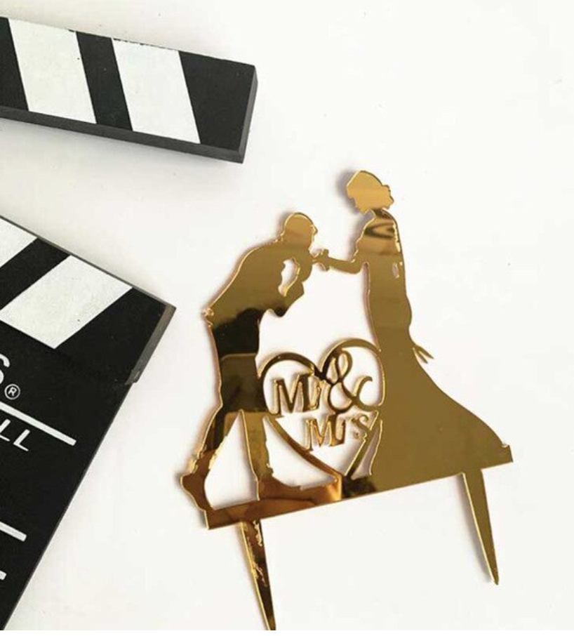 Mr & Mrs Acrylic Cake Topper with heart