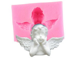 Angel Face & Wings Silicone Cake Topper Mould