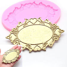 Baroque Vintage Style Ornate Oval Heart Mirror Frame Silicone Mould