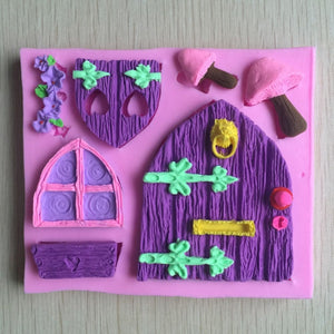 Baroque Vintage Fairytale Castle Door & Window Silicone Mould Wooden Mushroom