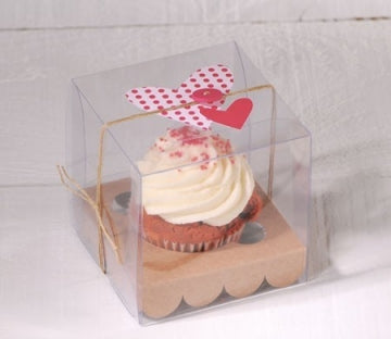SINGLE CLEAR CUPCAKE BOX WITH INSERT - 25 pieces
