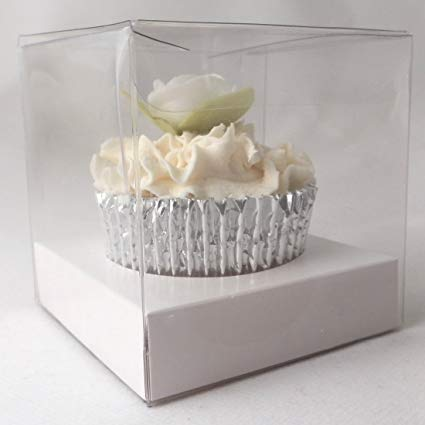 Single Cupcake Box-Clear with white insert