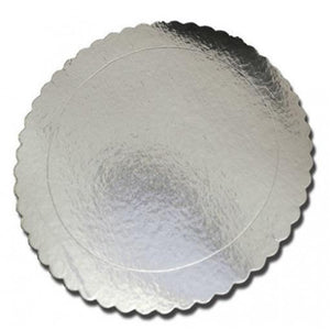 Silver Scallop Mirror Cake Board Textured