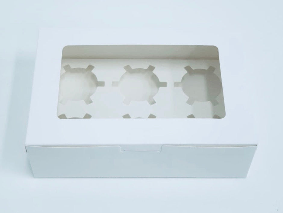6 Cupcake Box White-Lin