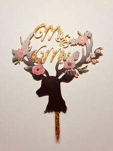 Dearly Sparkly Mr and Mrs Acrylic wedding cake topper.