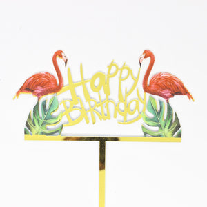 Acrylic Cake Topper – Tropical Flamingo