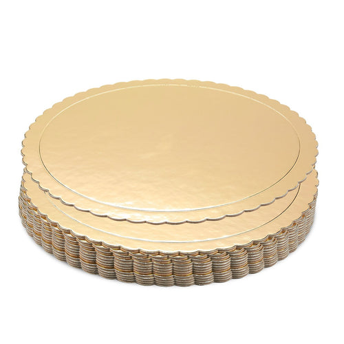 Gold Scallop Mirror Cake Board- Textured