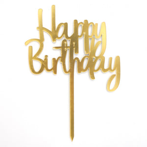 Acrylic Cake Topper  - Happy Birthday Vintage
