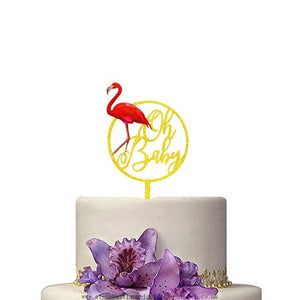 "Hawaii Flamingo ""Oh Baby"" Acrylic Cake Toppers"