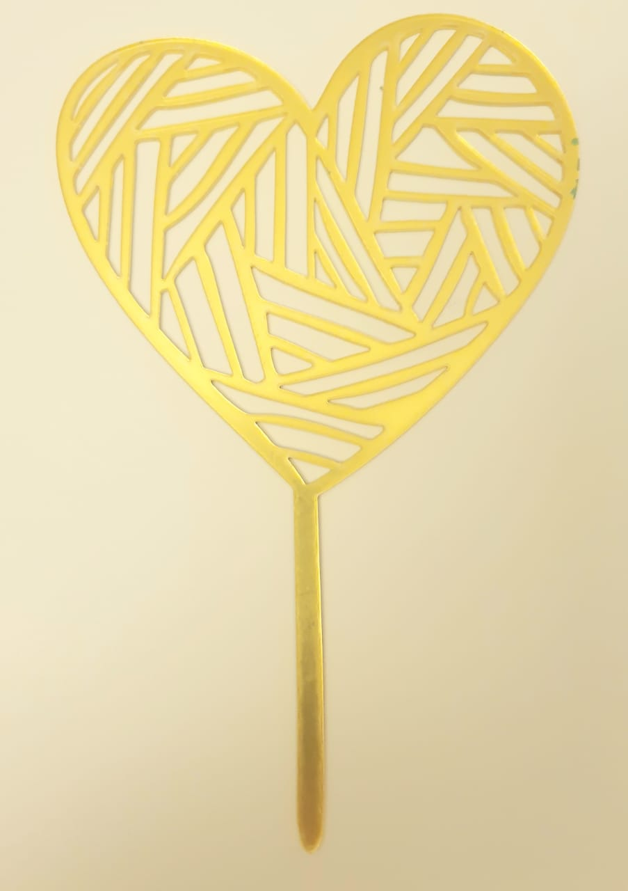 Acrylic Cake Topper Abstract Heart Gold